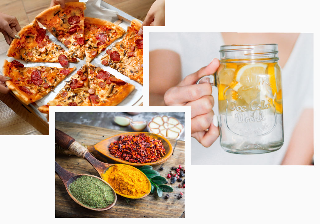 pizza, water with lemon, and spices